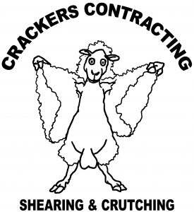Crackers Contracting logo - sheep taking off its fleece (funny cartoon)